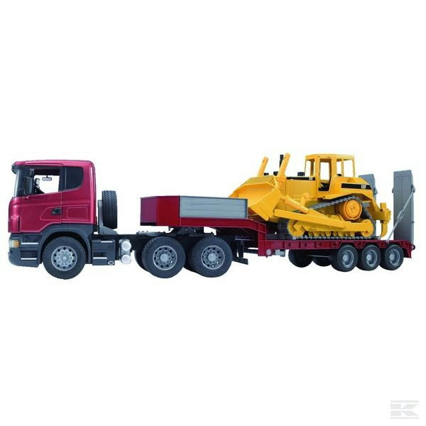 Childrens Toy Bruder Scania low loader truck with bulldozer 2