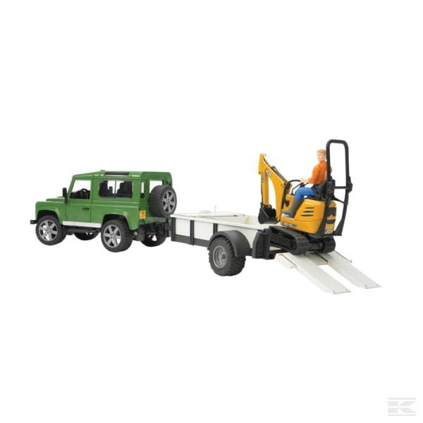 Childrens Toy Bruder Land Rover with trailer and digger 2