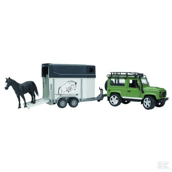 Childrens Toy Bruder Land Rover Defender  with  horse box 2