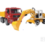 Childrens Toy Bruder MAN Constuction truck and Excavator 3