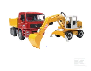 Childrens Toy Bruder MAN Constuction truck and Excavator 2