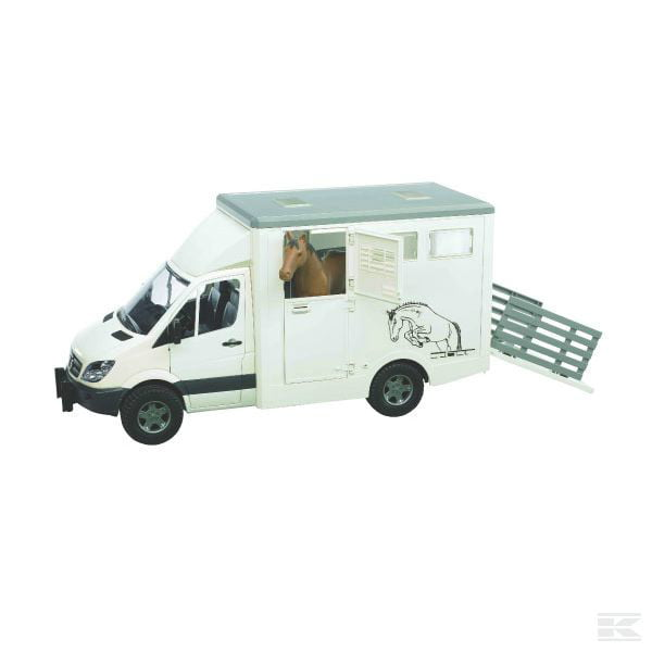 Childrens Toy Bruder MB Sprinter Animal Transporter with Horse 2