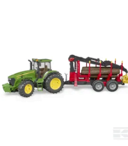 Bruder John Deere 7930 Tractor with forestry trailer and 4 trunks U03054 2